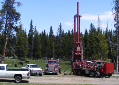 Drilling strainmeter holes at Yellowstone